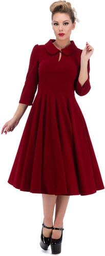 c7036df0d2 Dedoles Červené sametové retro pin up šaty s rukávy 5XL - Glami.cz