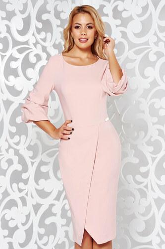 Rózsaszínű StarShinerS elegáns ceruza ruha enyhén elasztikus szövet  átfedéses df75a3724a