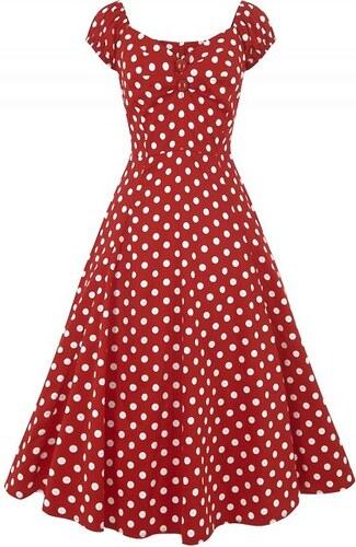 8974bdc1da90 Červené šaty s puntíky a sukní Collectif Dolores - Glami.cz