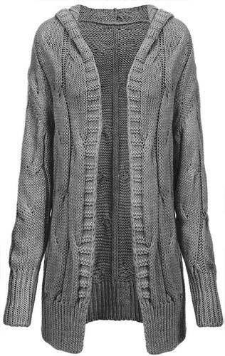 9d9090fae86 -15% Nové MADE IN ITALY Tmavě šedý dámský svetr s hrubým spletem (115ART)