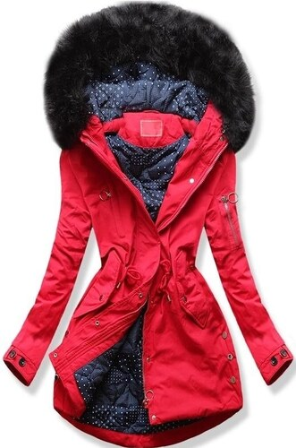 MODOVO Női téli kabát kapucnival Q32 piros - Glami.hu d86e26c13e