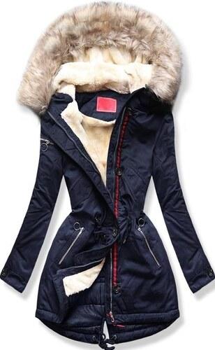 MODOVO Női téli kabát kapucnival PO-307 sötétkék - Glami.hu 8cf9bd7455