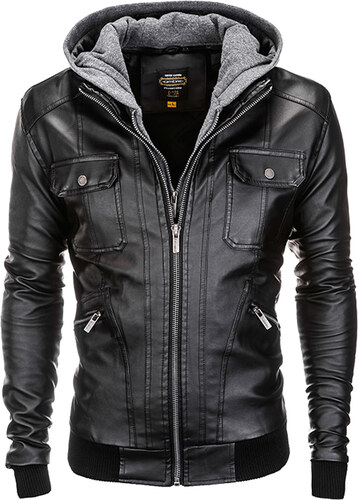 Ombre Clothing Férfi műbőr dzseki kapucnival Challenger fekete ... 42ccb00957