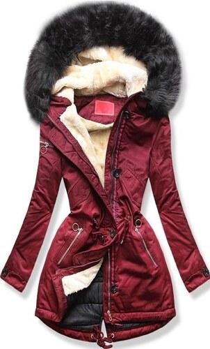 7c3f321923 MODOVO Női téli kabát kapucnival PO-307 bordó - Glami.hu