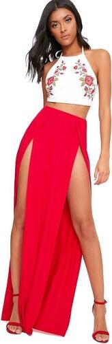 6243879ba8c PRETTYLITTLETHING Červená maxi sukňa s dvojitým rázporkom ...