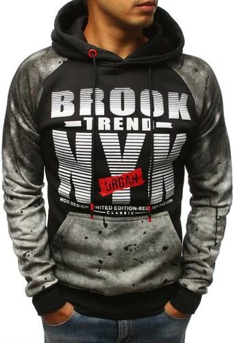 Čierno-šedá pánska mikina Brook Trend Urban s kapucňou - Glami.sk e9db7f9d443