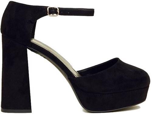 3a69d06aa28 NEW LOOK Černé páskové boty na širokém podpatku - Glami.cz