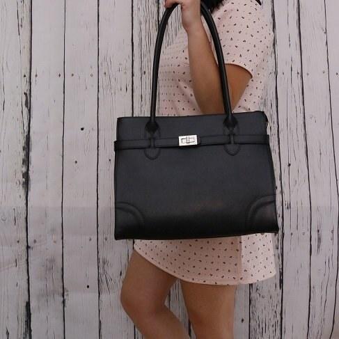 942567b6ff Talianske kožené kabelky luxusné veľké cez rameno čierne Debora ...