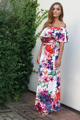 52f69deb96fa ZAZZA Dlhé farebné kvetinové šaty - Glami.sk