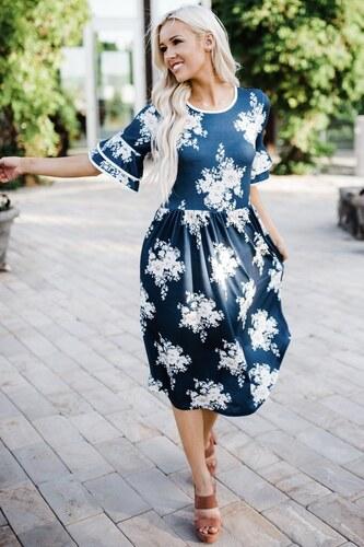 05ccd50eecca ZAZZA Modré šaty pod kolená s kvetinami - Glami.sk