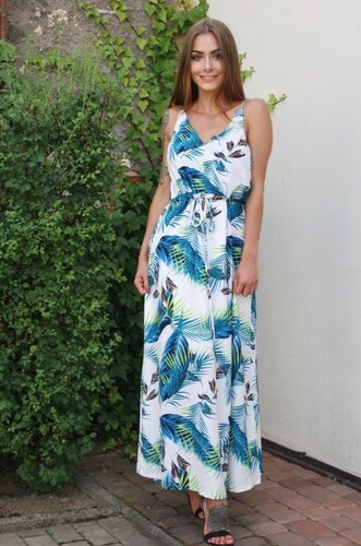 cc1d27f6a124 ZAZZA Dlhé biele šaty s exotickým vzorom - Glami.sk