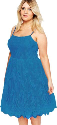 d6464b6dd4c LM moda A Elegantní krátké krajkové šaty modré 0711 - Glami.cz