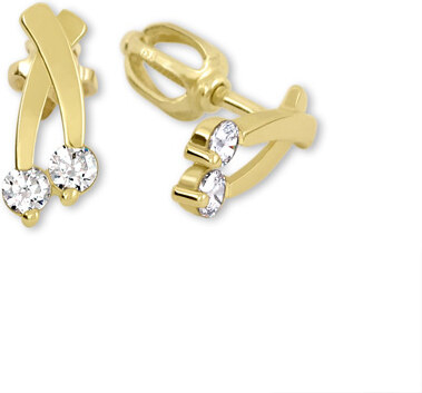 87f384c36 Brilio Zlaté náušnice s čírymi kryštálmi 239 001 00621 - 1,30 g ...