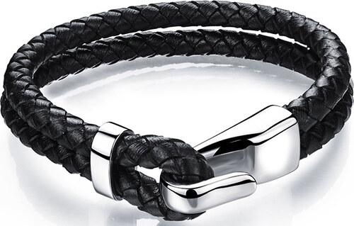 c69cde98e Troli čierny kožený náramok s oceľovým hákom Leather SW-BL071 - Glami.sk