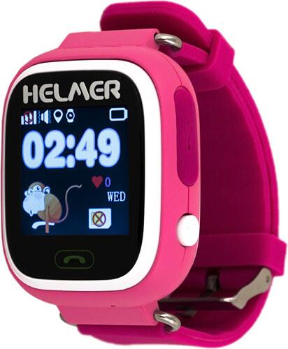 bd56e145c Helmer Chytré dotykové hodinky s GPS lokátorem LK 703 růžové + SIM karta  GoMobil s kreditem