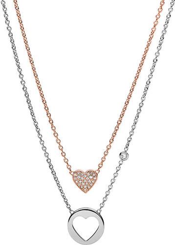 00e289f8e Fossil Dvojitý náhrdelník Double Heart JF02857998 - Glami.sk