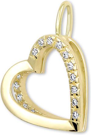 fabf36c3c Brilio Zlatý prívesok Srdce s kryštálmi 249 001 00493 - 1,10 g ...