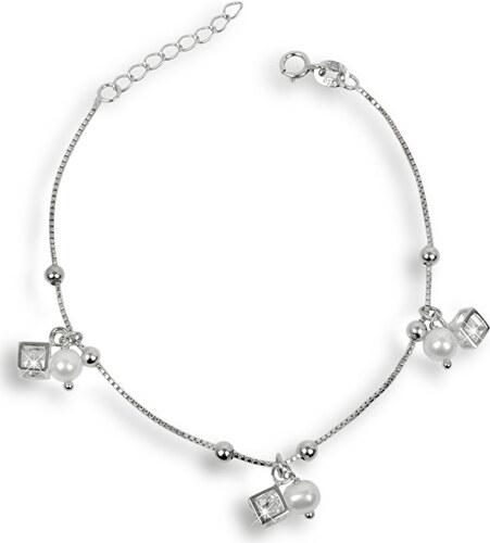 26133b6d2 JwL Luxury Pearls Jemný náramok z pravých bielych perál s kryštálmi JL0175