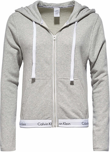 2e2dd754e4 Calvin Klein Dámská mikina Modern Cotton Linen Extension Top Hoodie Full  Zip QS5667E-020 Grey Heather