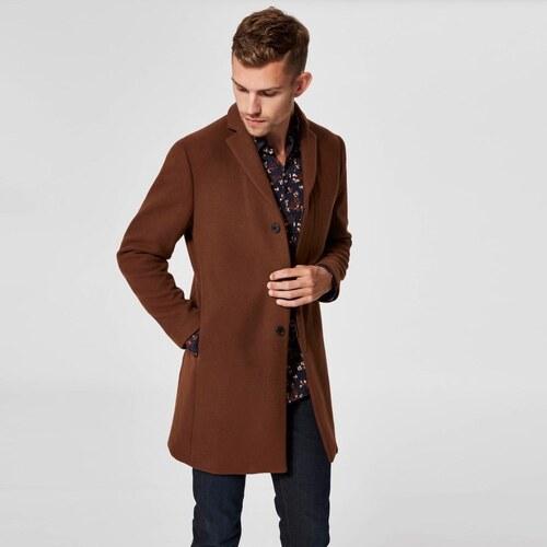 SELECTED HOMME Vlnený hnedý kabát Brove S - Glami.sk 3f10d37d7f5