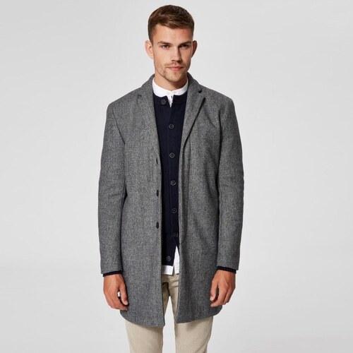 SELECTED HOMME Vlnený šedý melírovaný kabát Brove M - Glami.sk a4a71a90a5b