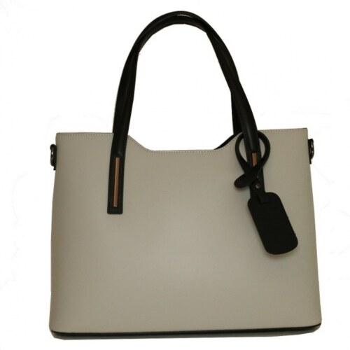 TALIANSKE Talianska luxusná kožená kabelka na rameno sivobéžová Carina  veľká f96817d9c92