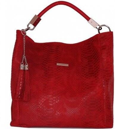 TALIANSKE Talianska shopperka kožená kabelka veľká na plece a do ruky  červená Alessa 8b9e7bec532