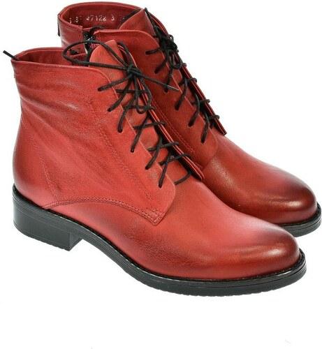 8287f13d04dc ACORD Dámske červené členkové kožené topánky MERICAN 36 - Glami.sk