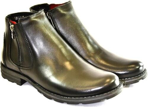 b097237ccb I-GUANA Pánske čierne kožené zimné topánky HARRY 39 - Glami.sk