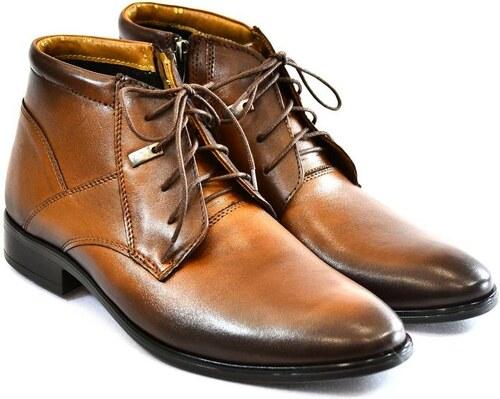 d279dfc67e43 I-GUANA Pánske hnedé kožené zimné topánky TYRION - Glami.sk