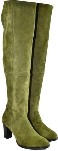 fb062adf2538 ALEX Dámske olivovo-zelené kožené čižmy KYOKO 36 - Glami.sk