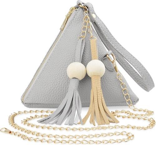 bc512d3383 World-Style.cz Dámská geometrická kabelka vak na rameno s řetízkem střapce  - šedá
