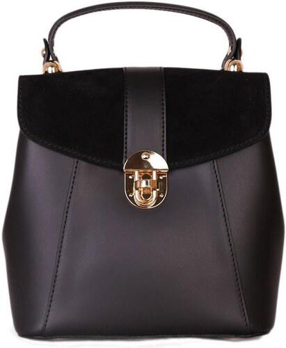 -33% ITALSKÉ Italský kožený batoh a kabelka v jednom Terezia černý 5b6aac39c3