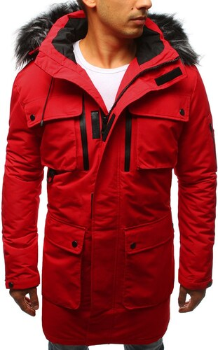 Červená pánska zimná párka bunda - Glami.sk 5f891c5f267