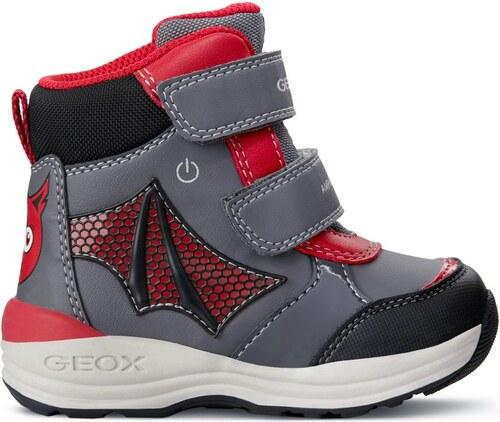 Geox Chlapecké zimní boty New Gulp - šedo-červené - Glami.cz 1a8dc0ba28