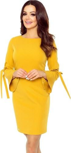 Bergamo Klasické medově žluté šaty s volány na rukávech - Glami.cz 4b8bb0b426