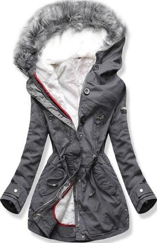 MODOVO Női téli kabát kapucnival B-73 grafitszürke - Glami.hu 4d539f6195
