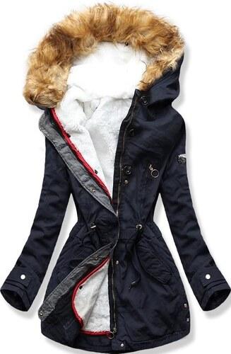 MODOVO Női téli kabát kapucnival B-73 sötétkék - Glami.hu 50299b2bf9