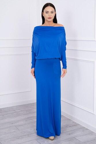 -20% MladaModa Dlhé šaty s lodičkovým výstrihom farba kráľovská modrá c85d9163fdb
