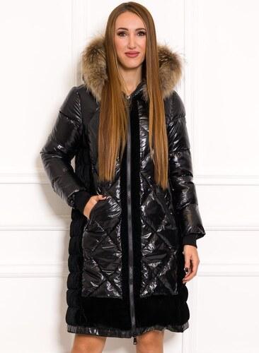Due Linee Dámska zimná bunda lesklá s velúrom a pravou kožušinou čierna cc159880f61