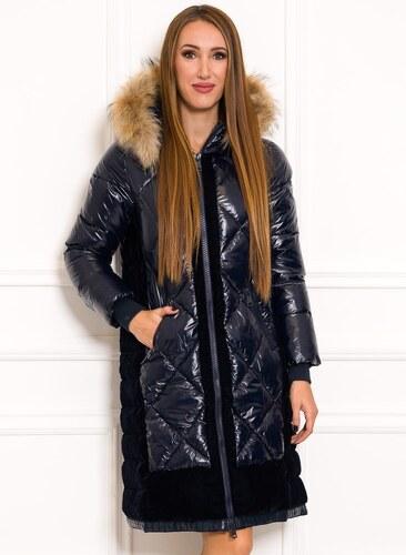 403b71793e Due Linee Dámska zimná bunda lesklá s velúrom a pravou kožušinou tmavo modrá