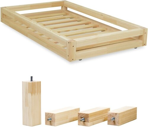 3eb0d7b006425 Sada prírodnej zásuvky pod posteľ a 4 predĺžených nôh Benlemi, pre posteľ  80 × 160 cm