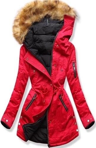MODOVO Dámska zimná bunda s kapucňou B-745 červeno-čierna - Glami.sk 42f5efce42d