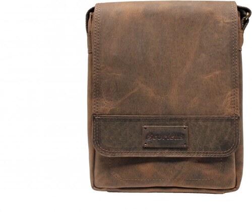 7ffe7d2a28 Scorteus Pánska kožená taška cez rameno Scorteus na iPad SM 1137 hnedá -  melír 2