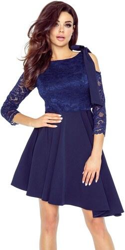 Bergamo Úchvatné tmavě modré asymetrické šaty s mašlí - Glami.cz b988f3d732