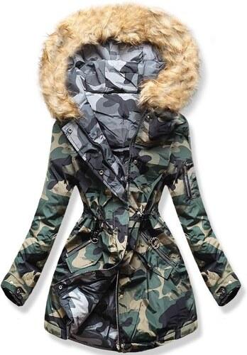 MODOVO Dámska zimná bunda s kapucňou Q-625 khaki-šedá - Glami.sk 91c584c8137