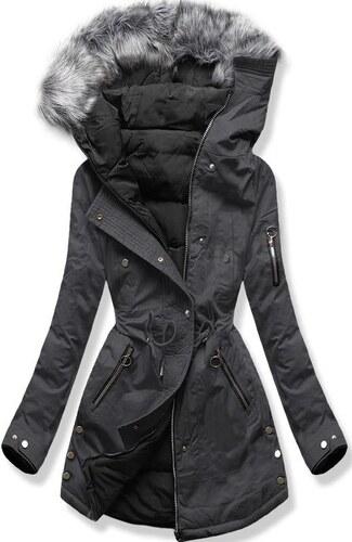 MODOVO Női téli kabát kapucnival B-745 szürke-fekete - Glami.hu a31e0ba199