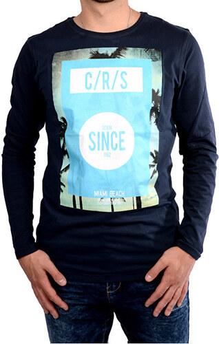 ebd2840423e -35% Cars Jeans Pánské tmavě modré tričko s potiskem Mojo Navy 4067712