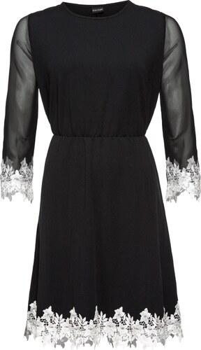 BODYFLIRT Bonprix - robe d été Robe en jersey avec mesh et dentelle noir  manches 3 4 pour femme 4a891e4d5d0d