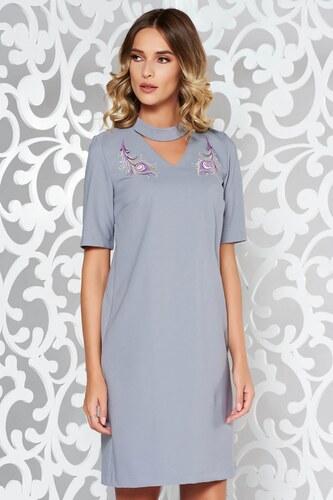 4c3018a21e Szürke StarShinerS elegáns hímzett ruha enyhén rugalmas szövet egyenes  szabás